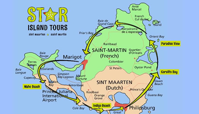 Location of Star Island Tours Sint Maarten Saint Martin