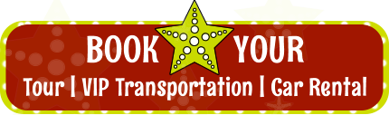 Book button for tours, car rentals or airport shuttles