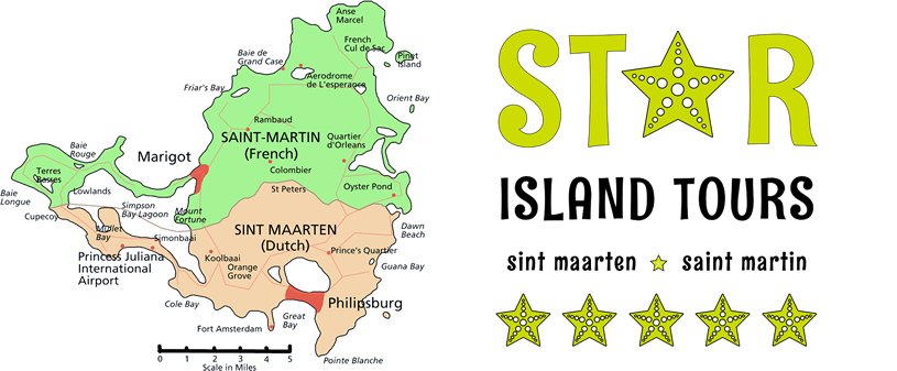 Map of Sint Maarten, Saint Martin